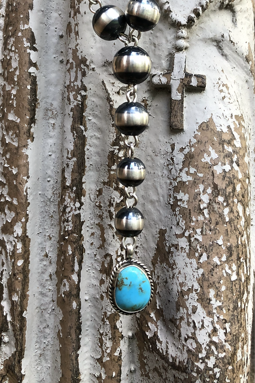 """Navajo peals with drop turquoise pendant, 27"""""""