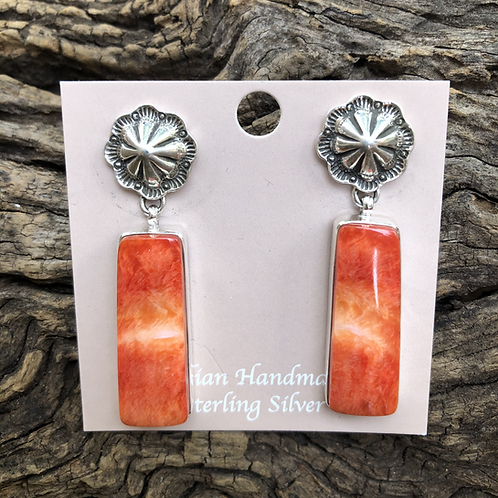 Orange spiny oyster dangle earrings with stamped sterling silver stud.