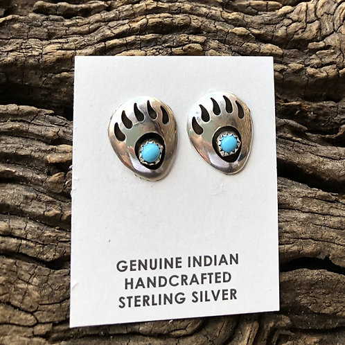Sterling silver bear paw and turquoise stud earrings