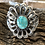 Thumbnail: Navajo sterling silver scalloped cut out cuff with turquoise stone, signed