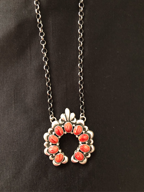 SOLD: Sterling silver hand-stamped naja with red spiny oyster - signed $325