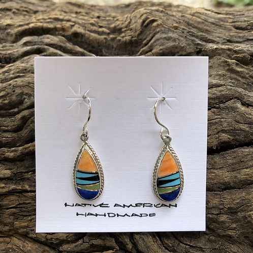 Orange spiny, lapis, turquoise tear drop dangles in sterling silver