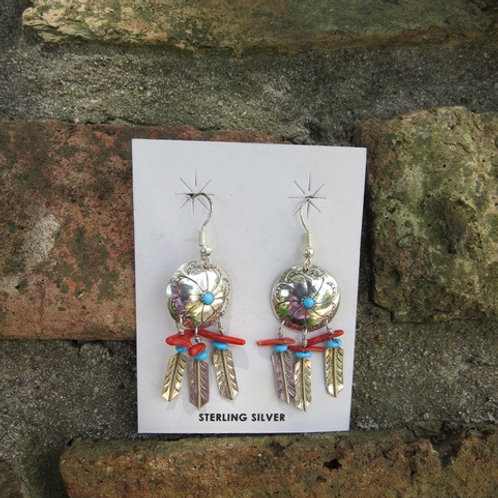 SOLD: Silver feather dangle earrings $30