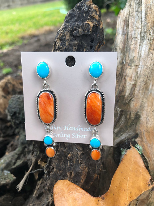 SOLD: Turquoise and orange spiny oyster dangles $315