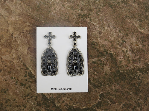Black Onyx and silver dangle earrings by Don Lucas