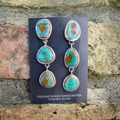 Turquoise three stone dangle earrings