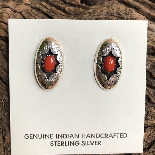 Sterling silver coral shadow box earrings.