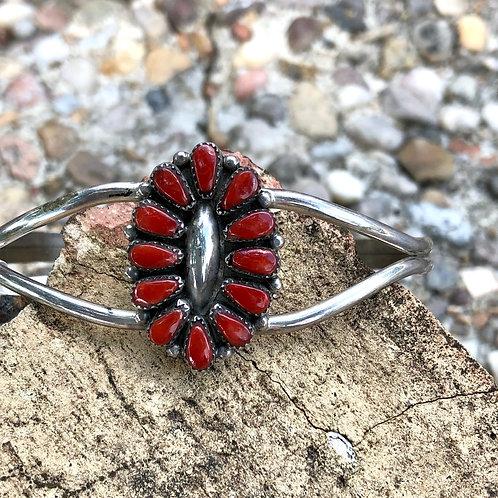 Zuni coral cluster cuff #31