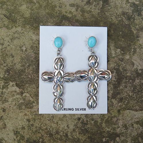 Navajo silver cross earrings with turquoise stone