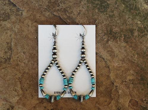 Navajo pearls and turquoise bead dangle earrings