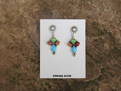Silver multi stone earrings by Don Lucas