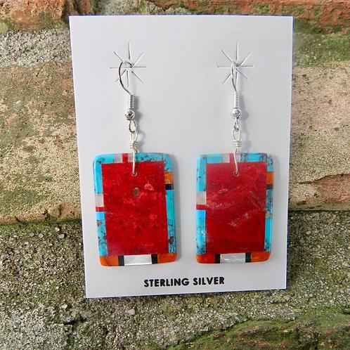 Sold- Inlaid slab earrings $175.