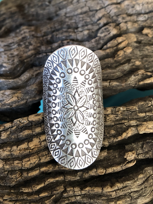 Sterling silver stamped ring, Sz. 8