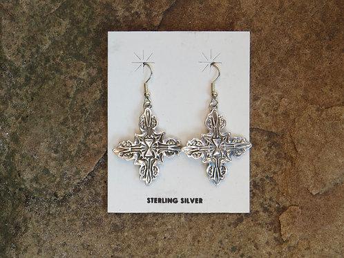 Navajo silver stamped dangle earrings