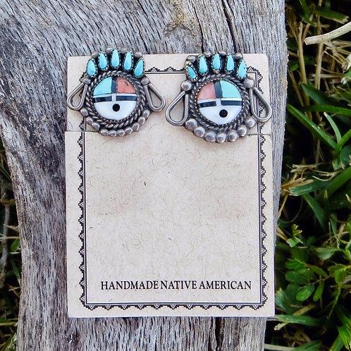 Vintage Zuni sun-face silver clip-on earrings