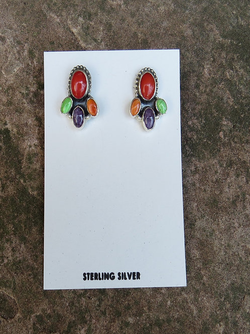 SOLD: Coral and multi-stone stud earrings by Don Lucas $125