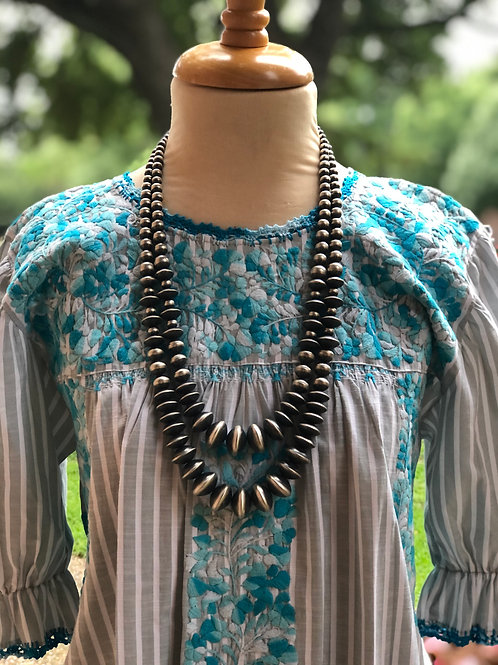 """Two strand gr aduated Navajo Pearl necklace, 30"""" with 2 1/2 extender."""