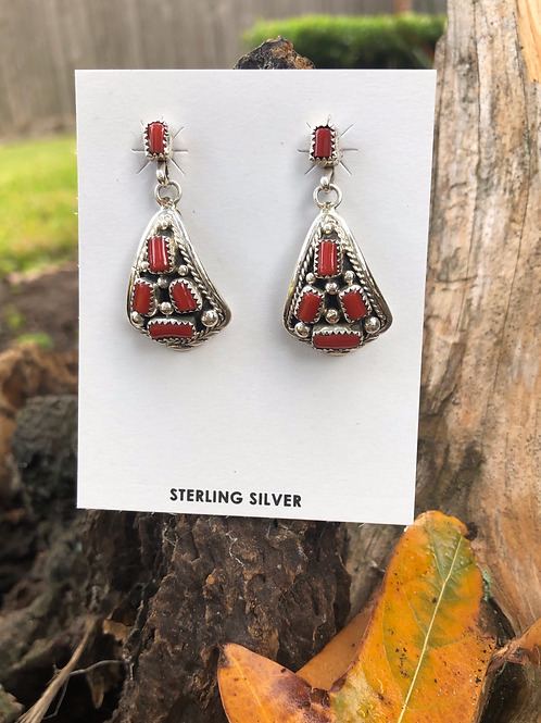 SOLD: Navajo sterling silver and coral dangles, signed $82