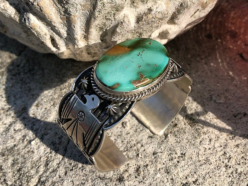 Royston Turquoise & thunderbird cuff by Navajo Andy Cadman #92