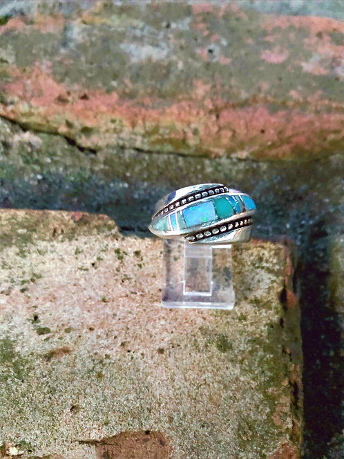 Sterling silver bead band with opal inlay by David Rosales Sz 6