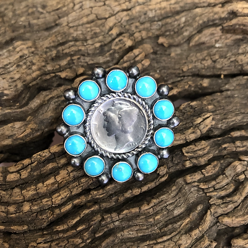 Lady Liberty 1941 coin ring with turquoise stones, Adjustable