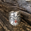 Thumbnail: Navajo sterling silver stamped thunderbird with coral stone, Sz.7
