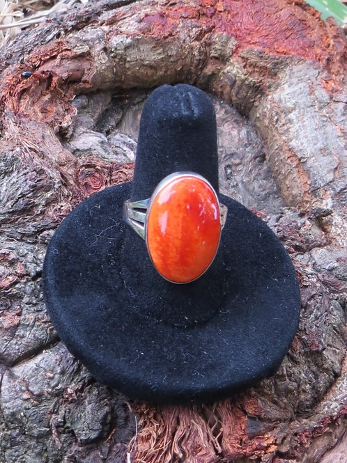 Sold- Sterling silver orange spiny oyster shell ring, Size 7.25 $90.