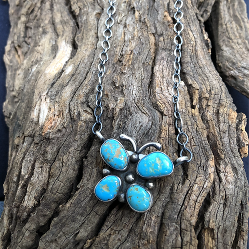 Butterly Kingman turquoise necklace by Navajo Shelia Becenti, signed