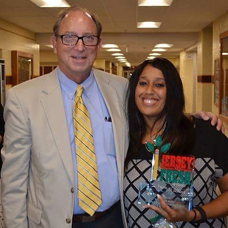 NJ Secretary of Agriculture, Douglas Fisher and Sonya Harris, first winner of the Jersey Fresh Farm to School Best in New Jersey Award