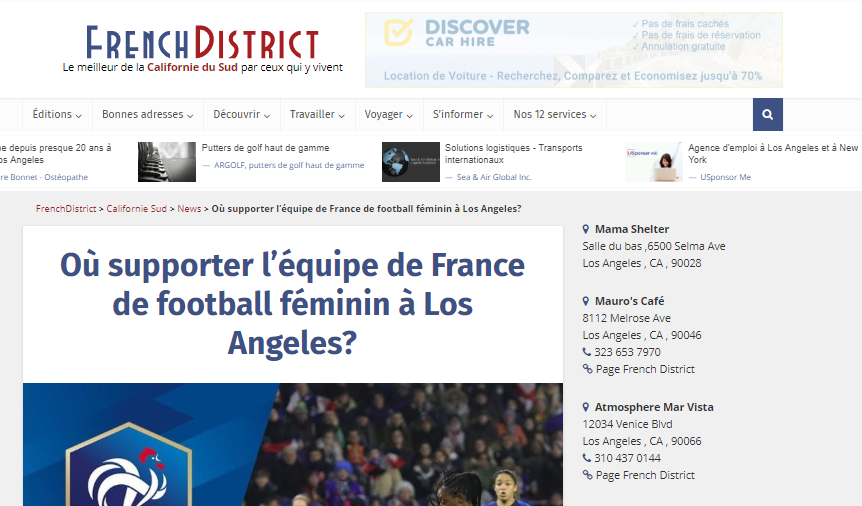 Où supporter l'équipe de France de football féminin à Los Angeles?
