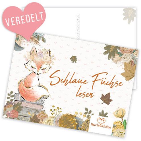Postkarte »Schlaue Füchse lesen«