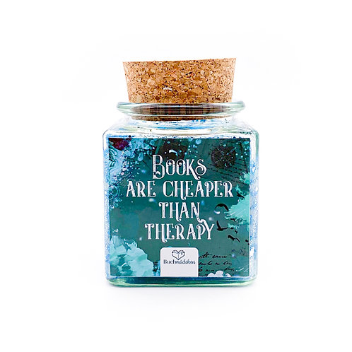 Specialkerze mit Korken »Books Are cheaper Than Therapy«  [Glitter Edition]