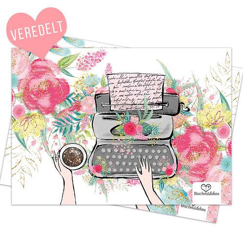 A5 Print »Schreibmaschine« mit Glitzer