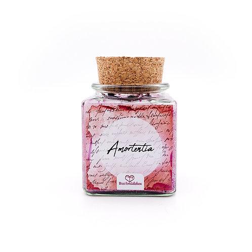 Specialkerze mit Korken »Amortentia«  [Glitter Edition mit Rosenblättern]