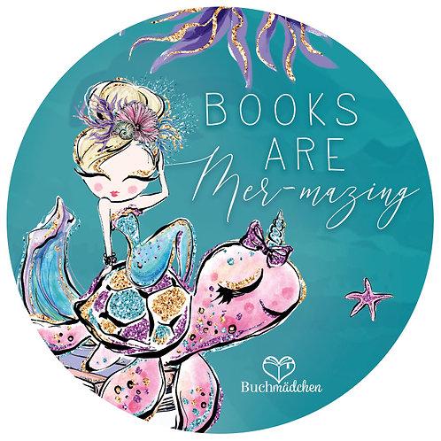 "Aufkleber »Books are mer-mazing"""