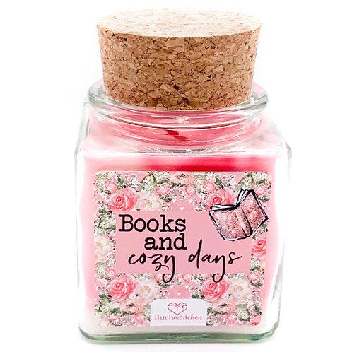Specialkerze mit Korken »Books and cozy days«