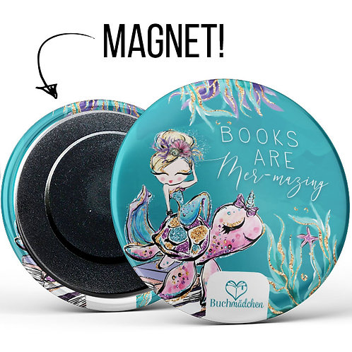 Magnetbutton »Books are Mer-mazing«