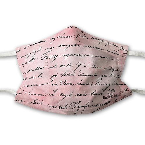 Mundnasenschutz rosa Schrift + gratis rosa FFP2 Maske