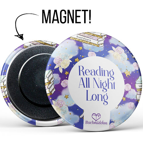 Magnetbutton »Reading all night long«