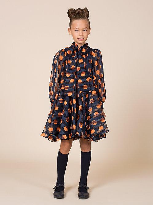 Taylor Chiffon Orange Polka Dress