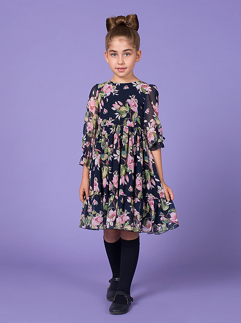 Navy Flower Tyra Dress