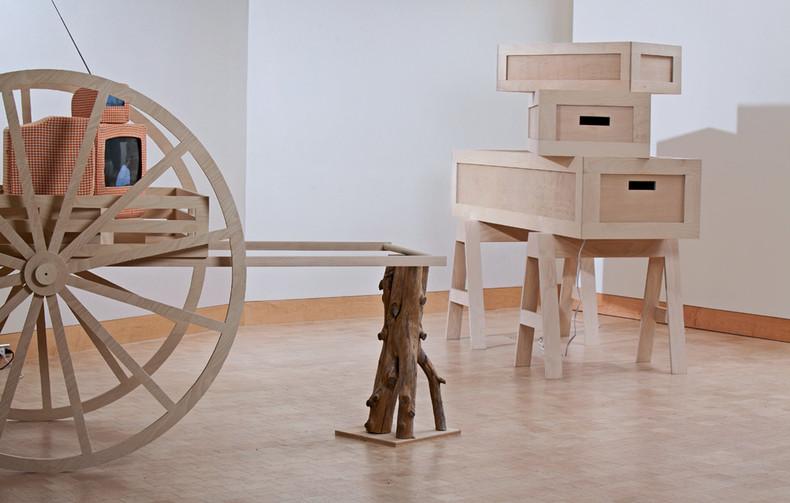 Handcart and crates video:Chele Isaac sculpture: BA Harrington