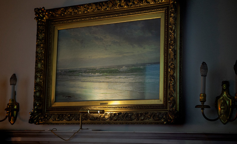 the seascape mirrrors itself in the projection