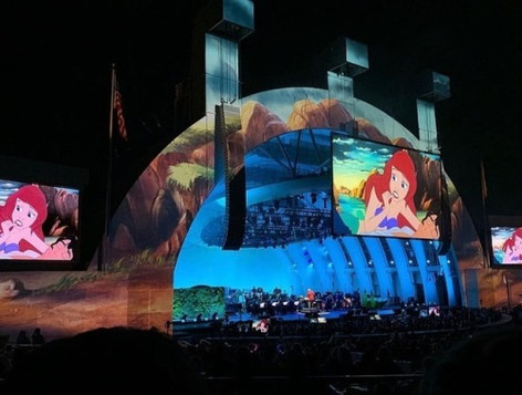 Production Still of Projected Matte Painting- Little Mermaid 30th at the Hollywood Bowl