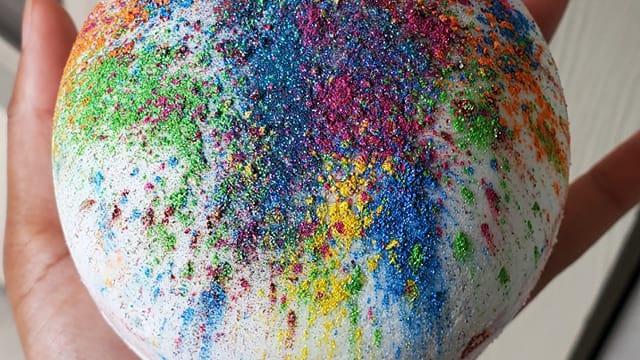 Peach Nectar Rainbow Bath Bomb+Hemp Oil