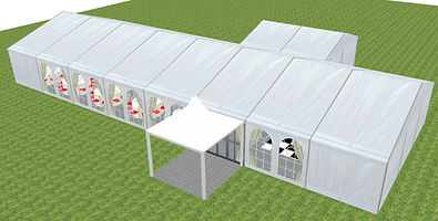 A 3D Impression of a wedding Marquee for 60 Guests - Prices