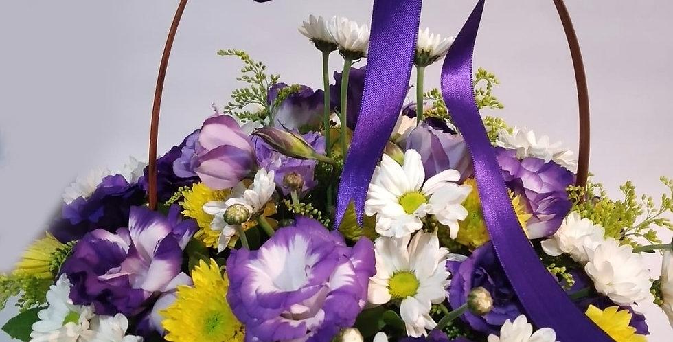 Mor Çiçek Sepeti