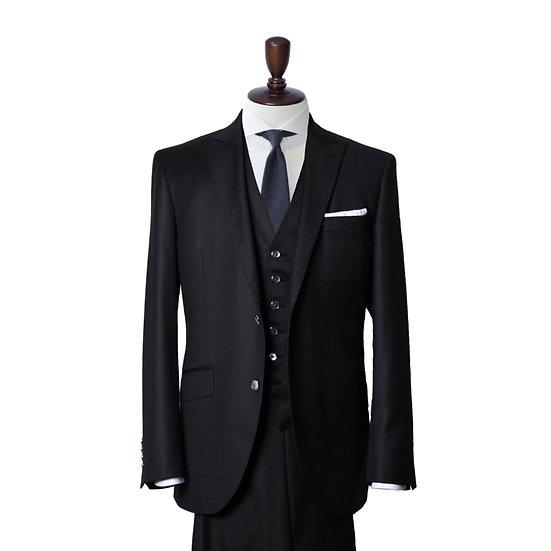 CLISSOLD ネイビー ジャガード スリーピーススーツ