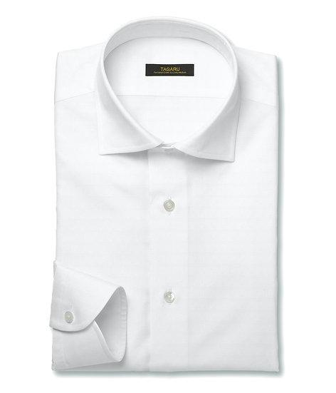 40/1ドレスシャツ  ヘリンボン(ホワイト)