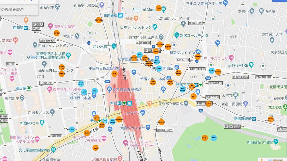 新宿周辺テーラーマップ